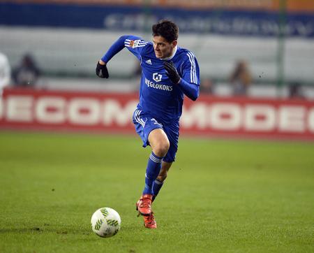 midfielder: WARSAW, POLAND - FEBRUARY 28, 2016, T-Mobile Polish Extra League Premier Football League Legia Warsaw movement Chorzowop: Mariusz Stpiski Editorial