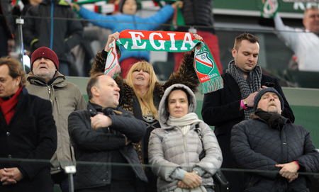 midfielder: WARSAW, POLAND - FEBRUARY 14, 2016, T-Mobile Polish Extra League Premier Football League Legia Warsaw Jagiellonia Bialystok op: Maryla Rodowicz singer