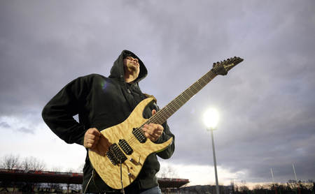 shove: WARSAW, POLAND, MARCH 19, 2016: Inernational rugby game Poland - Belgium Europe Rugby Cupo  p guitar player rock musician