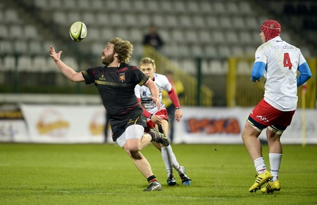 shove: WARSAW, POLAND, MARCH 19,  2016: Inernational rugby game Poland - Belgium Europe Rugby Cup