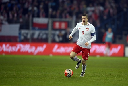 POZNAN, POLAND, MARCH 23, 2016: Inernational Friendly football game Poland - Serbiao / p Robert Lewandowski