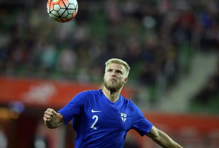 paulus: WROCLAW, POLAND, MARCH 26, 2016: Inernational Friendly football game Poland - Finlando  p Paulus Arajuuri (Lech Poznan) Editorial