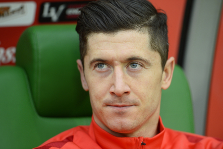 WROCLAW, POLAND, MARCH 26, 2016: Inernational Friendly football game Poland - Finlando  p Robert Lewandowski Bayern Munich Redakční