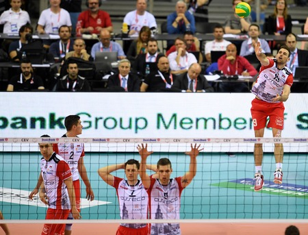 cev: WARSAW, POLAND - APRIL 16, 2016: Volleyball Champions League Final Four nz RUSSELL HOLMES ( ASSECO ) Editorial