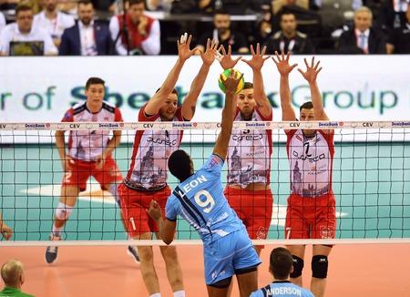 cev: WARSAW, POLAND - APRIL 16, 2016: Volleyball Champions League Final Four nz WILFREDO LEON ( ZENIT ) BARTOSZ KUREK ( ASSECO ) DMYTRO PASHYTSKYY ( ASSECO ) ALEH AKHREM ( ASSECO ) Editorial