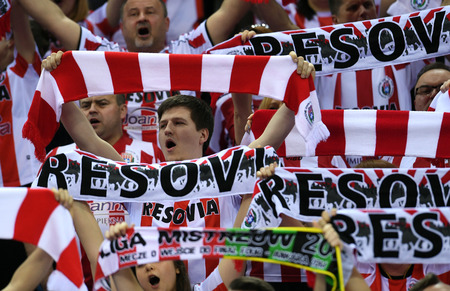 cev: WARSAW, POLAND - APRIL 16, 2016: Volleyball Champions League Final Four nz Asseco Fans