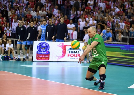 cev: WARSAW, POLAND - APRIL 16, 2016: Volleyball Champions League Final Four nz ALEXEY VERBOV ( ZENIT )