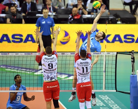 igor: WARSAW, POLAND - APRIL 16, 2016: Volleyball Champions League Final Fourna  from Dmytro PASHYTSKYY (Asseco) Igor Kobzar (ZENIT) Editorial