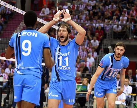 cev: WARSAW, POLAND - APRIL 16, 2016: Volleyball Champions League Final Fourna  ANDREY of ASHCHEV (ZENIT) Maxim Mikhailov (ZENIT) Editorial