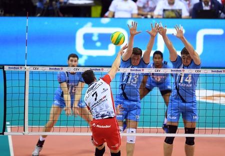 cev: WARSAW, POLAND - APRIL 16, 2016: Volleyball Champions League Final Fourna  from Aleh AKHREM (Asseco) Igor Kobzar (ZENIT) ALEXANDER GUTSALYUK (ZENIT) Editorial