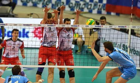 cev: WARSAW, POLAND - APRIL 16, 2016: Volleyball Champions League Final Fourna  from Dmytro PASHYTSKYY (Asseco) Aleh AKHREM (Asseco)