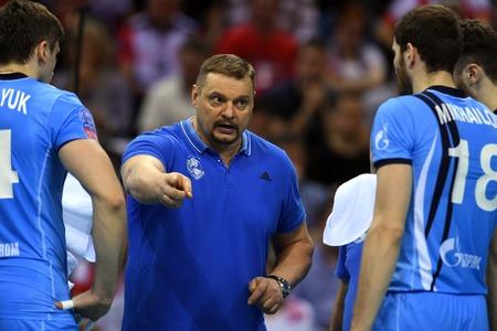 cev: WARSAW, POLAND - APRIL 16, 2016: Volleyball Champions League Final Fourna  with COACH HEAD COACH ZENIT VLADIMIR ALEKNO Editorial