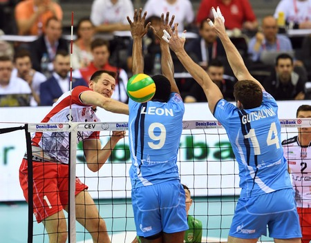 cev: WARSAW, POLAND - APRIL 16, 2016: Volleyball Champions League Final Fourna  with Bartosz Kurek (Asseco) WILFREDO LEON (ZENIT) Editorial