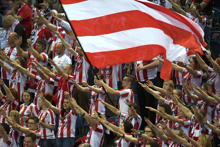 cev: WARSAW, POLAND - APRIL 16, 2016: Volleyball Champions League Final Fourna  Asseco Fans