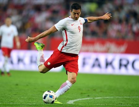 GDANSK, POLAND - JUNE 01, 2015: EURO 2016 European International Friendly Game Poland - Netherland o  p Robert Lewandowski Редакционное