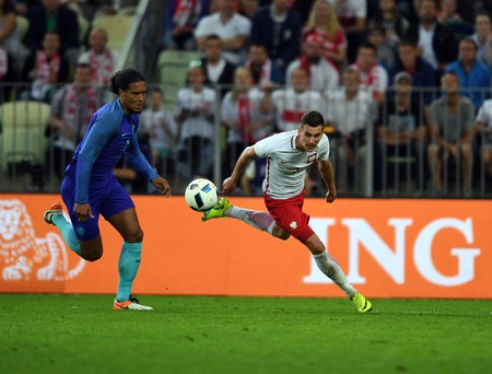 GDANSK, POLAND - JUNE 01, 2015: EURO 2016 European International Friendly Game Poland - Netherland o  p Virgil van Dijk Arkadiusz Milik