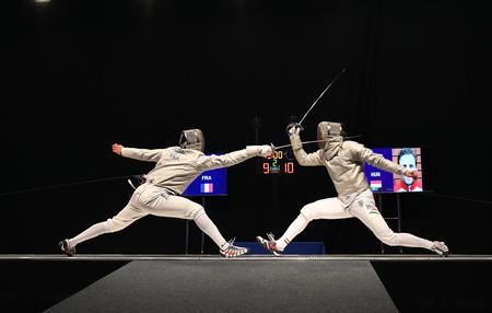 WARSAW, POLAND – FEBRUARY 25: Sabre de Wolodyjowski Internationa Fencing Federation Fencing Cup in mens sword FIA Stok Fotoğraf - 73983201