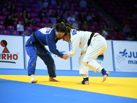 WARSAW, POLAND - APRIL 23: European Judo Championships Warsaw 2017, woman bronze medal fights
