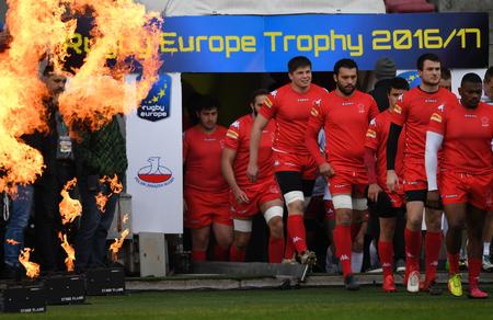 WARSAW, POLAND, APRIL 22, 2017: Inernational rugby game Poland - Switzerland Europe Rugby Cupo  p Switzerland rugby team entrance