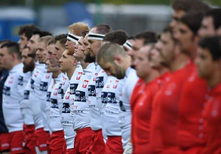 scrum: WARSAW, POLAND, APRIL 22, 2017: Inernational rugby game Poland - Switzerland Europe Rugby Cupo  p Poland rugby team line up