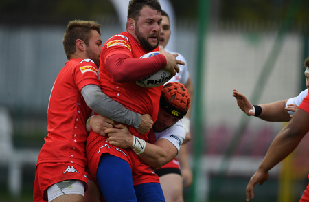 WARSAW, POLAND, APRIL 22, 2017: Inernational rugby game Poland - Switzerland Europe Rugby Cupo  p Poland and Switzerland rugby teams during the game in action Redakční