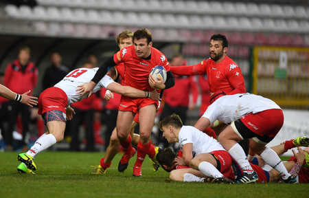 scrum: WARSAW, POLAND, APRIL 22, 2017: Inernational rugby game Poland - Switzerland Europe Rugby Cupo  p Poland and Switzerland rugby teams during the game in action Editorial