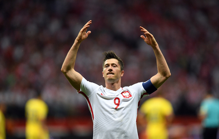 JUNE 10, 2017: 2018 World Cup Qualifications Robert Lewandowski of Poland celebrates his goal Editorial