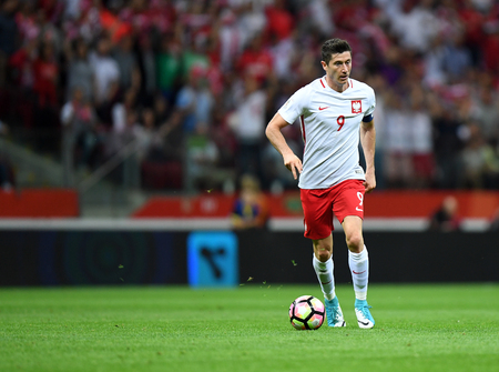 WARSAW, POLAND - JUNE 10, 2017: 2018 World Cup Qualifications Robert Lewandowski of Poland Stock Photo - 82141837