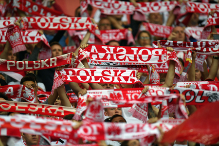 WARSAW, POLAND - JUNE 10, 2017: 2018 World Cup Qualifications  p polish supporters