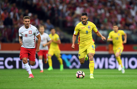 JUNE 10, 2017: 2018 World Cup qualifiers  p Karol Linetty of Poland, Florin Andone of Romania Editorial