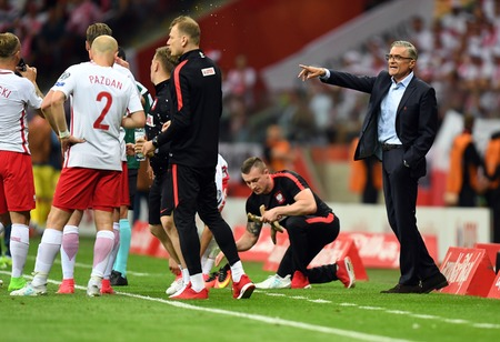 WARSAW, POLAND - JUNE 10, 2017: 2018 World Cup Qualifications  p Adam Nawalka coach of Poland Editorial