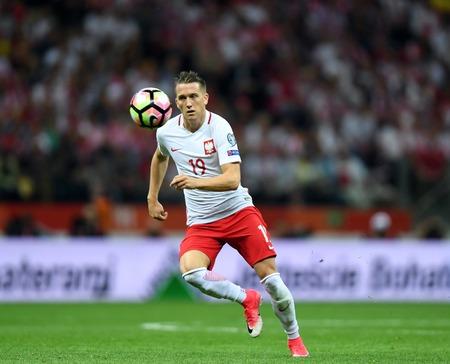 midfielder: WARSAW, POLAND - JUNE 10, 2017: 2018 World Cup Qualifications  p Piotr Zielinski of Poland
