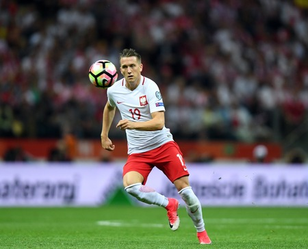 WARSAW, POLAND - JUNE 10, 2017: 2018 World Cup Qualifications  p Piotr Zielinski of Poland