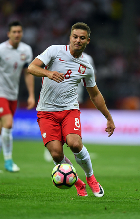 WARSAW, POLAND - JUNE 10, 2017: 2018 World Cup qualifiers  p Karol Linetty of Poland Editorial