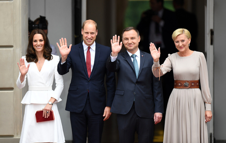 WARSAW, POLAND - JUNE 17, 2017: The Duke and Duchess of Cambridge visit in Polando  p Andrzej Duda, Agata Kornhauser-Duda, Wilhelm William prince of Cambridge, Kate Middleton