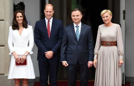 WARSAW, POLAND - JUNE 17, 2017: The Duke and Duchess of Cambridge visit in Polando  p Andrzej Duda, Agata Kornhauser-Duda, Wilhelm William prince of Cambridge, Kate Middleton