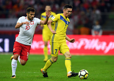 4 SEPTEMBER, 2017 - WARSAW, POLAND: Football World Cup RUSIA 2018 qualification match Poland - Kazakhstano  p Maciej Makuszewski (Poland) Aslan Darabayev (Kazakhstan)