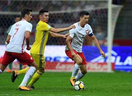 4 SEPTEMBER, 2017 - WARSAW, POLAND: Football World Cup Rusia 2018 qualification match Poland - Kazakhstano  p Aslan Darabayev (Kazakhstan) Robert Lewandowski (Poland)