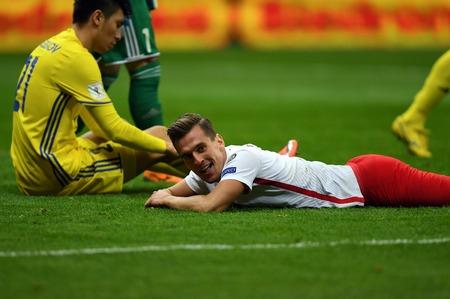 4 SEPTEMBER, 2017 - WARSAW, POLAND: Football World Cup Rusia 2018 qualification match Poland - Kazakhstano  p Arkadiusz Milik (Poland)