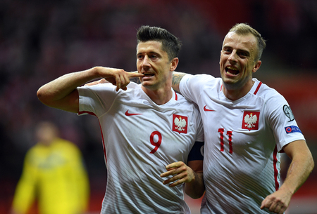 4 SEPTEMBER, 2017 - WARSAW, POLAND: Football World Cup RUSIA 2018 qualification match Poland - Kazakhstano  p Robert Lewandowski (Poland) celebrates his goal Kamil Grosicki (Poland)