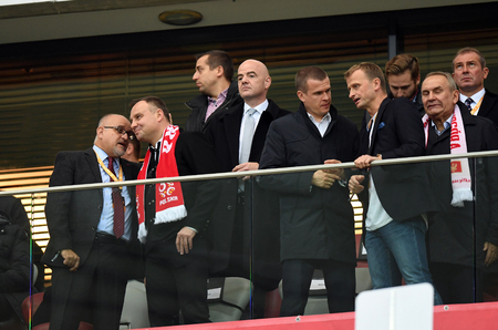 8 OCTOBER, 2017 - WARSAW, POLAND: Football World Cup RUSIA 2018 qualification match Poland - Montenegro  p Andrzej Duda, Gianni Infantino, Witold Banka