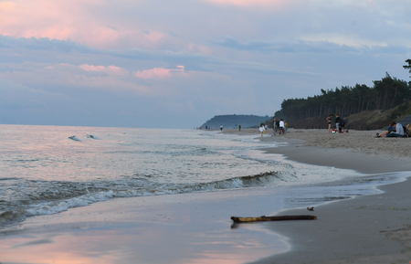 12 JULY 2018 - OSTROW, POLAND: Polish Baltic sea during summer Editorial