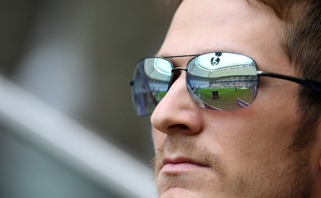 WARSAW, POLAND - MAY 02, 2018: Polish League Cup Final Arka Gdynia vs Legia Warsaw  p: starium reflection in sun glasses