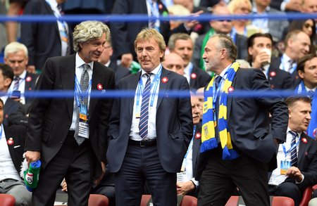 WARSAW, POLAND - MAY 02, 2018: Polish League Cup Final Arka Gdynia vs Legia Warsaw  p: Dariusz Mioduski president of Legia Zbigniew Boniek president of Polish Football Federation and Wojciech Szczurek president of Gdynia
