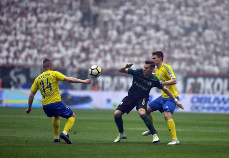 WARSAW, POLAND - MAY 02, 2018: Polish League Cup Final Arka Gdynia vs Legia Warsaw  p: Chris Philipps (Legia Warsaw) Maciej Jankowski (Arka Gdynia) Editorial