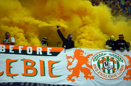 WARSAW, POLAND - MAY 02, 2018: Polish League Cup Final Arka Gdynia vs Legia Warsaw  p: Arka Gdynia fans