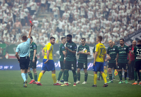 WARSAW, POLAND - MAY 02, 2018: Polish League Cup Final Arka Gdynia vs Legia Warsaw  p: refree red card