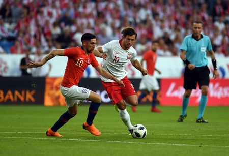 POZNAN, POLAND - MAY 08, 2018: International friendly game between Poland and Chileo  p: Diego Valdes (Chile), Grzegorz Krychowiak (Poland)