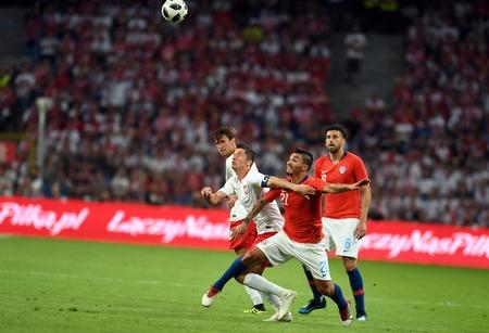 POZNAN, POLAND - MAY 08, 2018: International friendly game between Poland and Chileo / p: Robert Lewandowski (Poland) Lorenzo Reyes (Chile) Stock Photo - 115120248