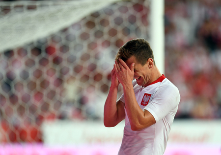 POZNAN, POLAND - MAY 08, 2018: International friendly game between Poland and Chileo  p: Arkadiusz Milik (Poland) Editorial